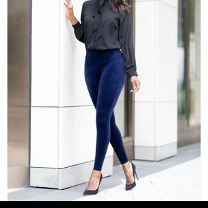 Plus Sized Blue Velvet Spanx Leggings